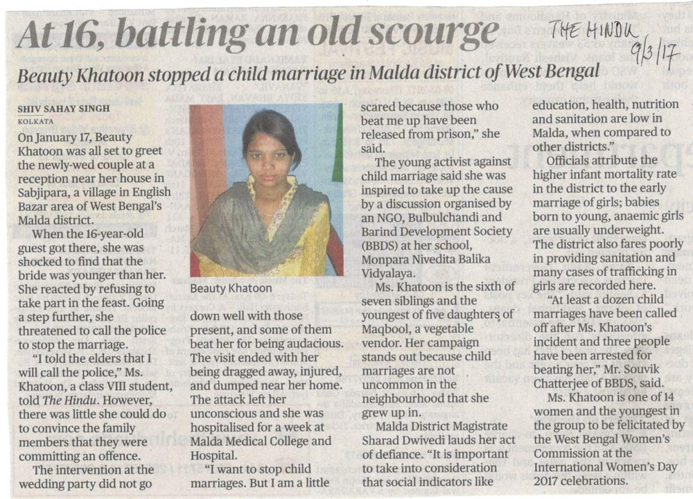 At 16,battling an old scourge - child brides still going on!