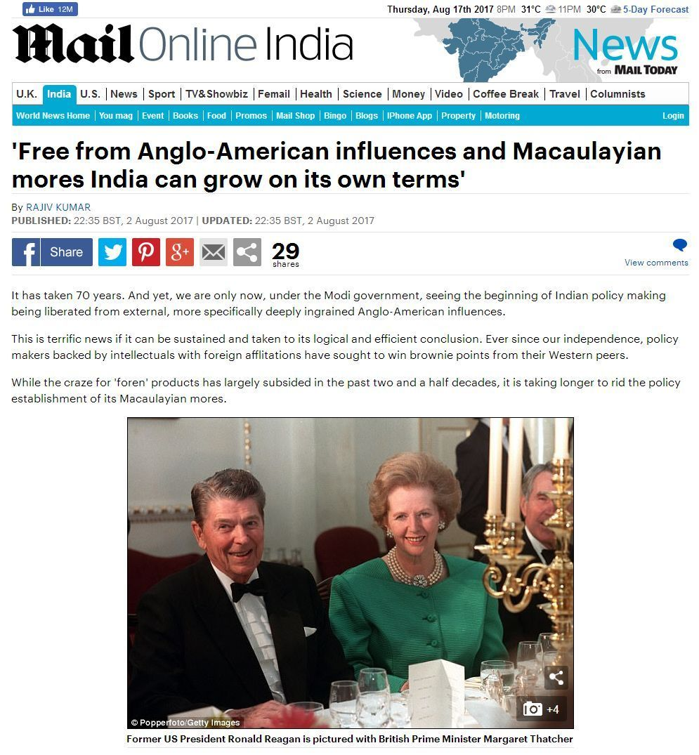 Free from Anglo-American influences India
