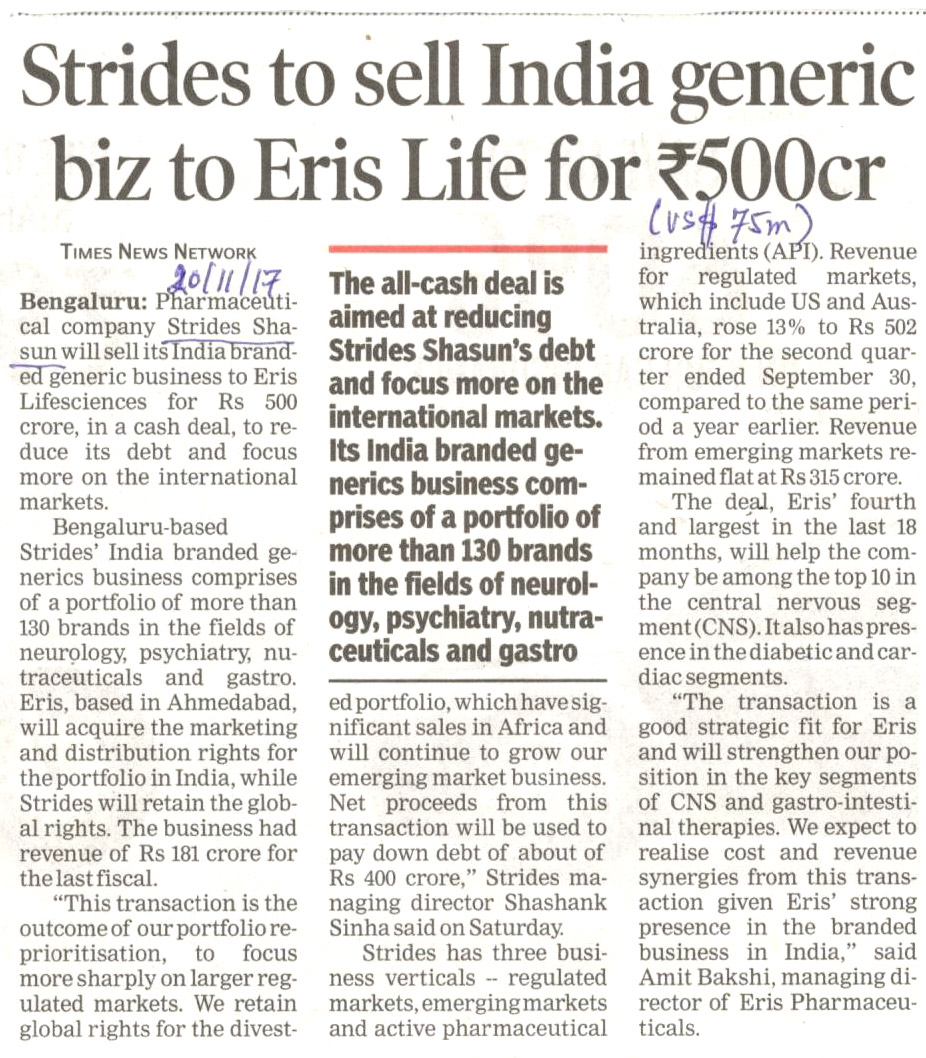 Strides to sell india