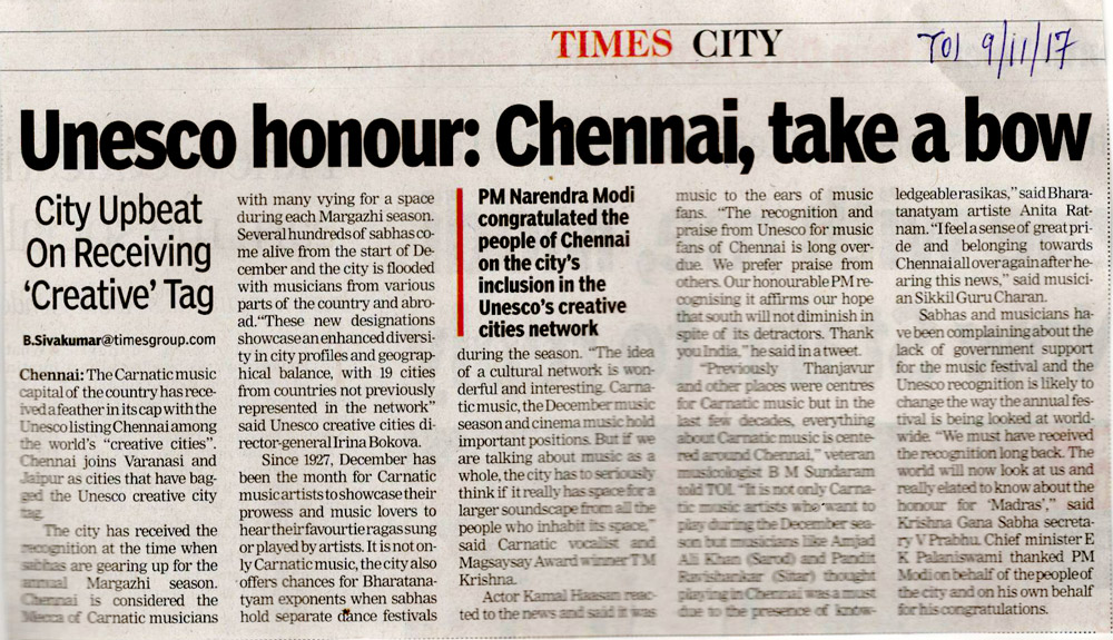 Unesco honour Chennai