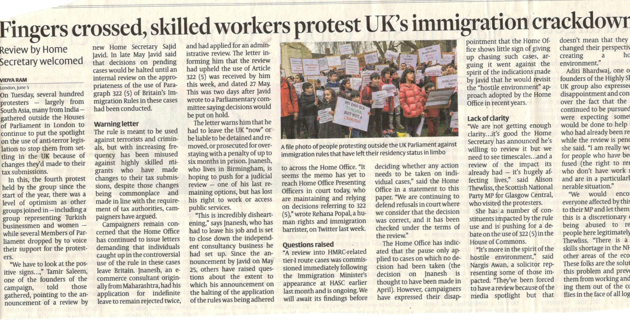 Fingers crossed, Skilled workers protest UK\'s immigration crack ...